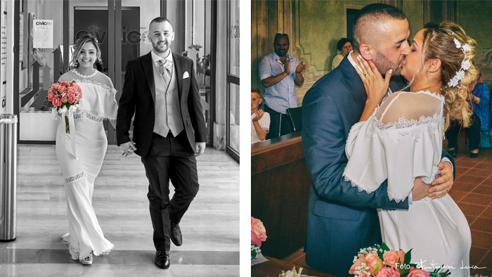 Foto di matrimonio bacio